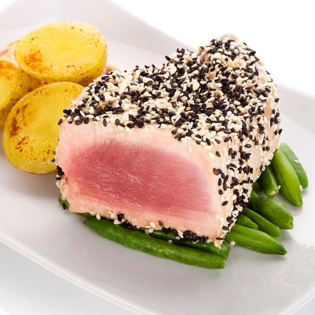 High Quality Organics Express Black Sesame Seed on ahi tuna seared with green beans and potatoes
