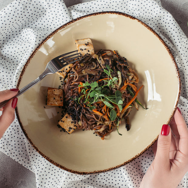 High Quality Organics Express Black Sesame Seed on tofu with soba noodles