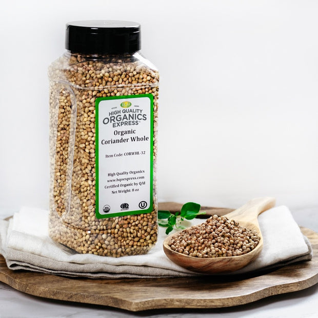 High Quality Organics Express Coriander Whole Jar