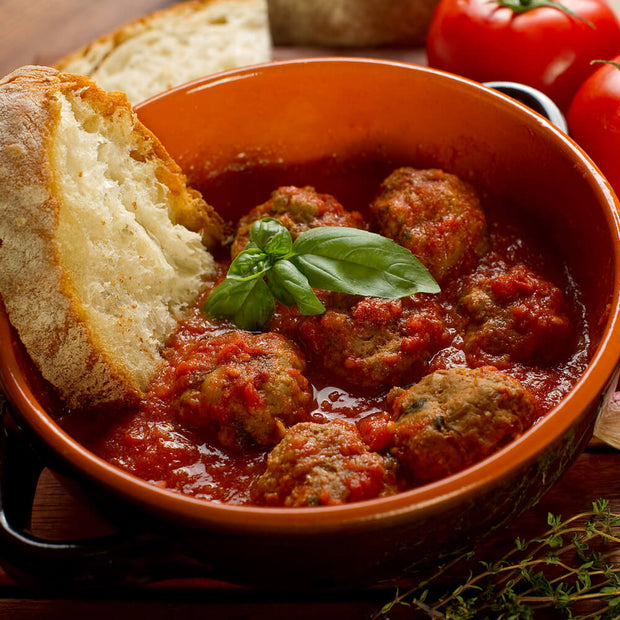 High Quality Organics Express Garlic Powder in meatballs in marinara sauce