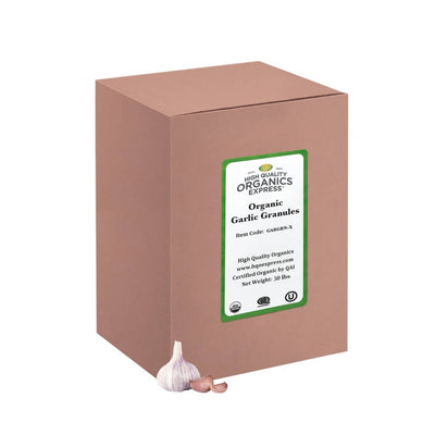 High Quality Organics Express Garlic Granules Box