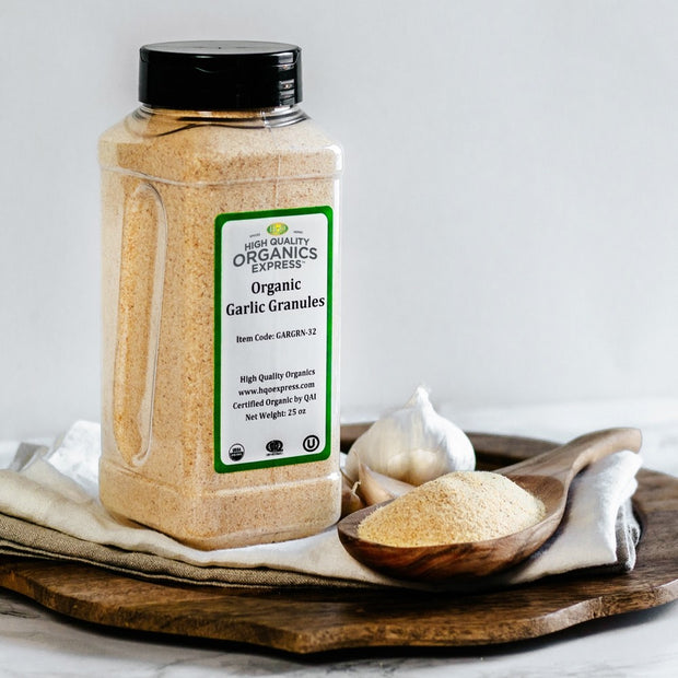 High Quality Organics Express Garlic Granules Display