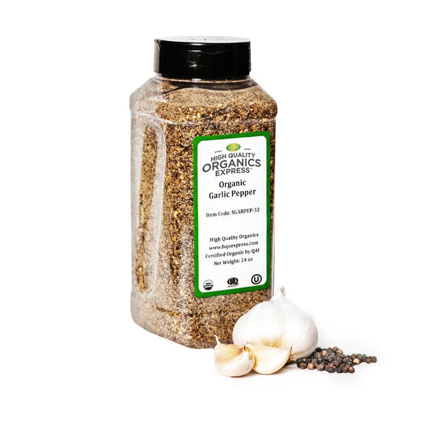 High Quality Organics Express Garlic Pepper Seasoning and Rub Jar
