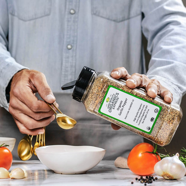 High Quality Organics Express Garlic Pepper Seasoning and Rub Measurement