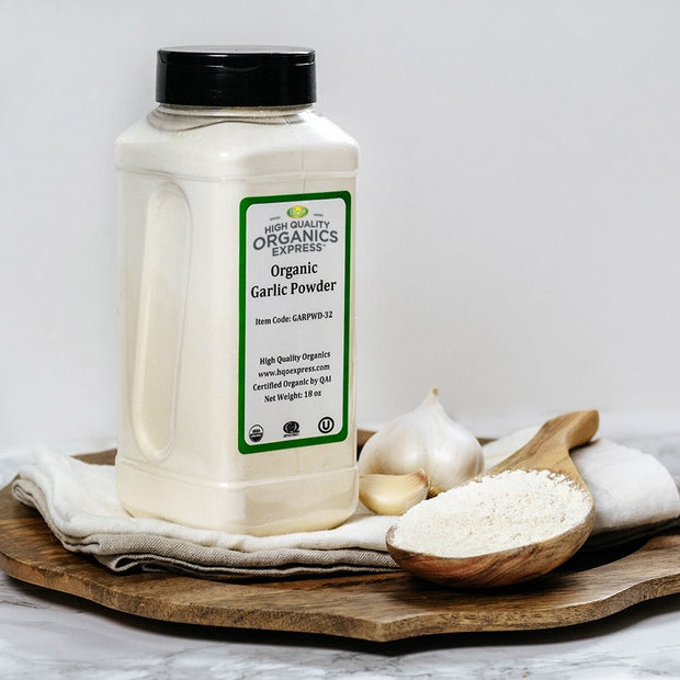 High Quality Organics Express Garlic Powder Display