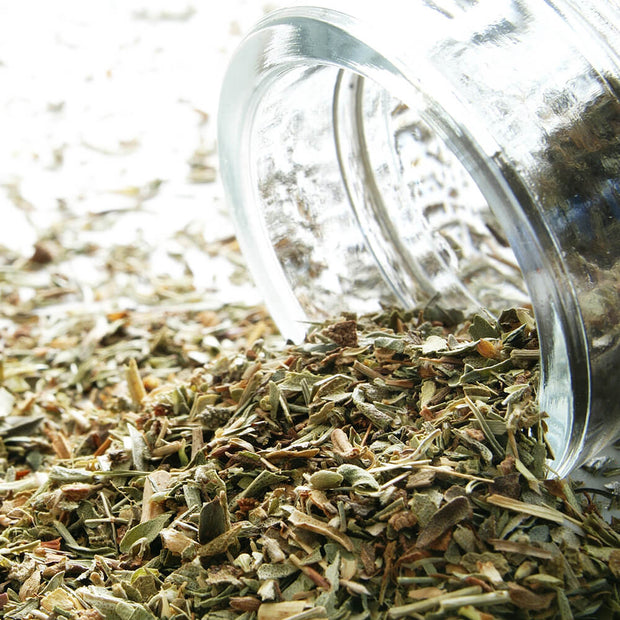 High Quality Organics Express Herbs De Provence dried herbs spilling out of jar