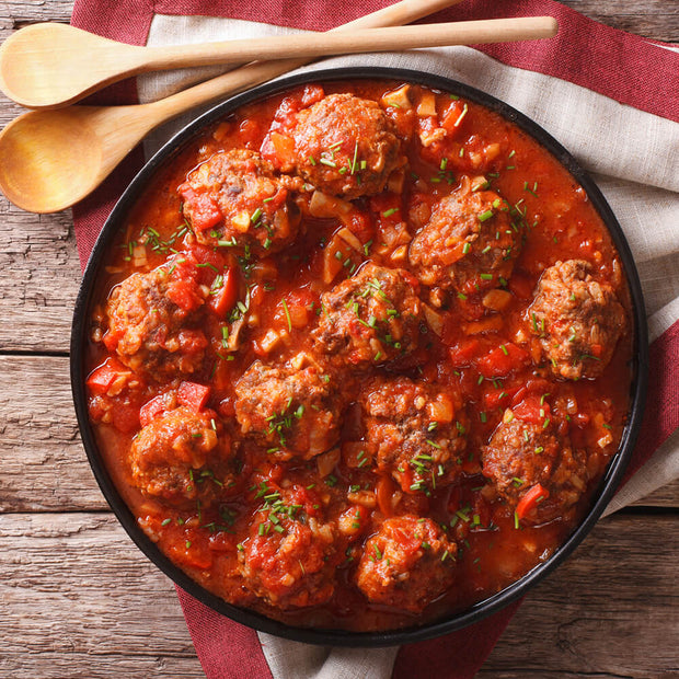 High Quality Organics Express Italian Seasoning meatballs in sauce in pan