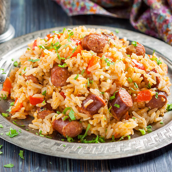 cajun spicy jambalaya on plate