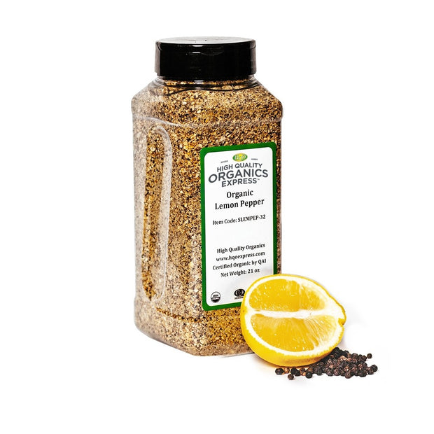 High Quality Organics Express Lemon Pepper Seasoning and Rub Jar