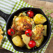 High Quality Organics Express Mustard Seed Ground with chicken and potatoes in pan