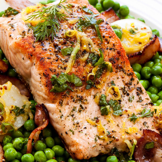 High Quality Organics Express Mustard Seed Ground marinade used on salmon with bed of peas