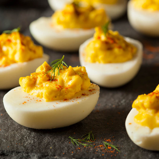 High Quality Organics Express Paprika deviled eggs