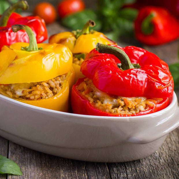 High Quality Organics Express Paprika rice in stuffed in bell peppers