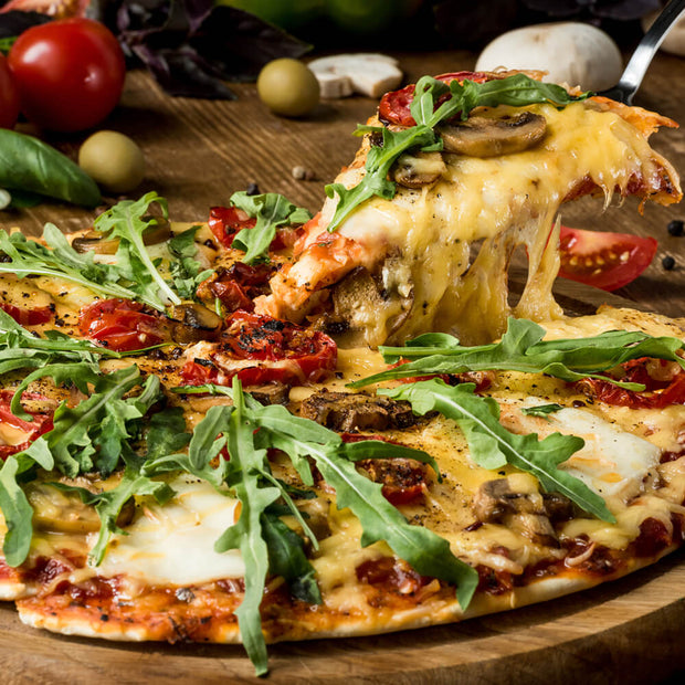 High Quality Organics Express Pizza Seasoning with Arugula Pizza and Dried Tomatoes