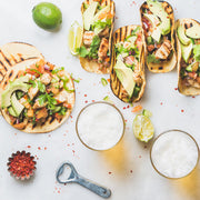 High Quality Organics Express Taco Seasoning with avocado chicken tacos and beer
