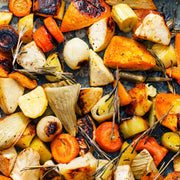 High Quality Organics Express Vegetable Seasoning on roasted leeks and carrots onion and squash