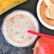 High Quality Organics Express Whey in Protein Smoothie with apple and banana and chia seeds