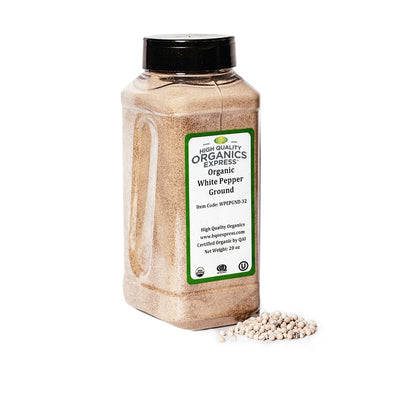 High Quality Organics Express White Pepper Fine Grind Jar
