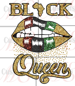 BLACK Queen Lips Design for Women's Casual T-Shirt - ME Customs, LLC