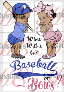 Baby Shower Idea Baseball or Bows Design Print for Kids' Casual Dresses - ME Customs, LLC