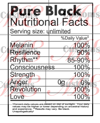 Pure Black Nutritional Facts - ME Customs, LLC