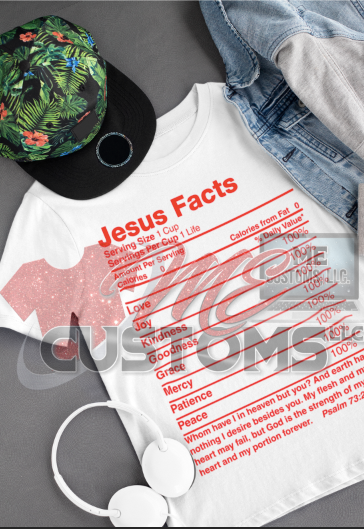 Jesus Facts (RED TEXT) (Iron On Screen Print Transfer Sheet Only) - ME Customs, LLC
