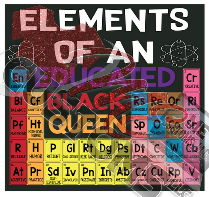 Black History: Elements of a Black Educated Queen (Iron On Transfer Sheet Only) - ME Customs, LLC