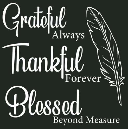 Grateful, Thankful, Blessed {WHITE PRINT} (Iron On Transfer Sheet Only) - ME Customs, LLC