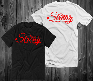 She Is Strong RED (IRON ON SCREEN PRINT TRANSFER) - ME Customs, LLC