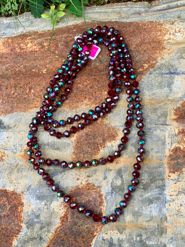 Wrap Necklace- Iridescent Burgundy