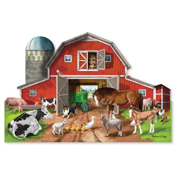 M&D- Busy Barn Shaped Floor Puzzle