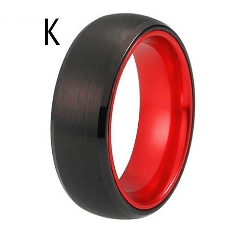 Black Tungsten Ring with Red Aluminum Insert