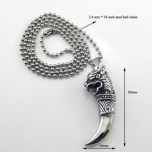 Wolf Tooth Dragon Pendant Necklace