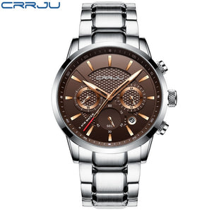 CRRJU  30m Waterproof Luxury Steel Watch