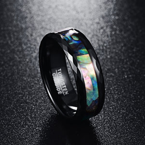Abalone Shell & Polished Black Faceted Tungsten Ring