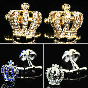 Glass and Steel Crown Cufflinks