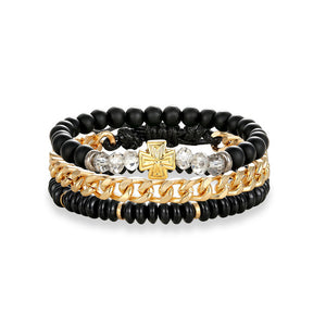 Multi-layer Leather, Stainless Steel Link Chain and Bead Bracelets