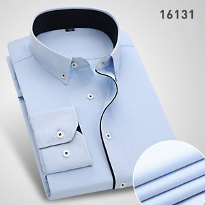 2019 Long Sleeved Cotton/Polyester Fashion Business Shirt (Plus size included)