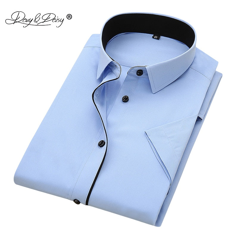 2019 Short Sleeved Cotton/Polyester Fashion Business Shirt (Plus size included)