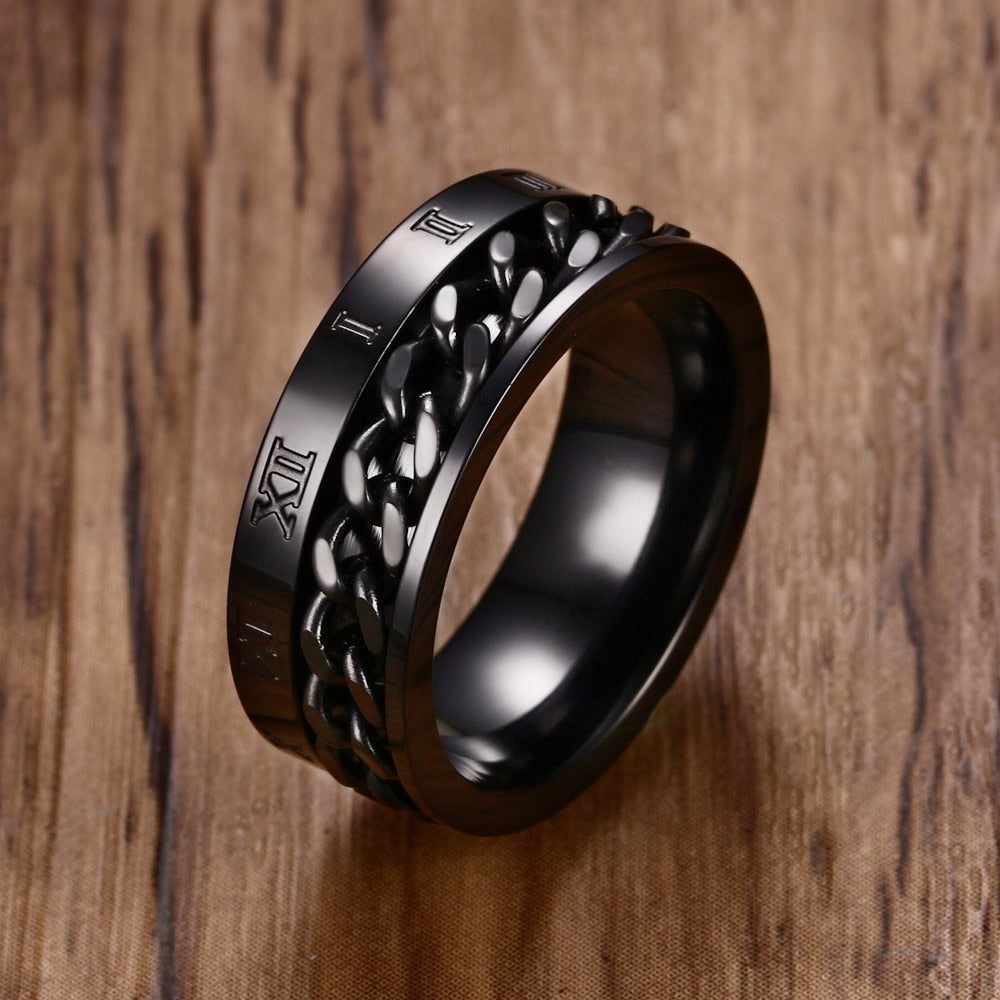 Stainless Steel Roman Number Spinning Worry Ring