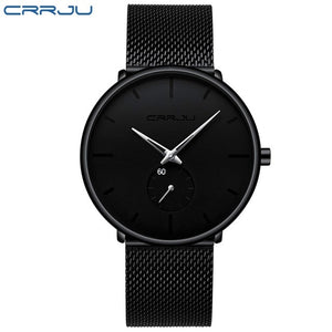 CRRJU Luxury Quartz Mesh Steel Waterproof Sport Watch