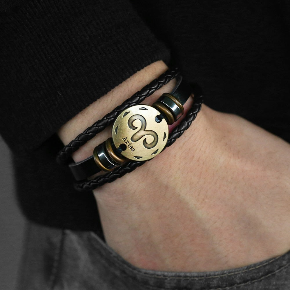 Men's Leather Horoscope Bracelet
