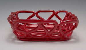 Red Loopy Squared Bowl
