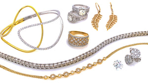 Gold and Diamond jewelry. Bracelets, rings, earrings & diamonds.