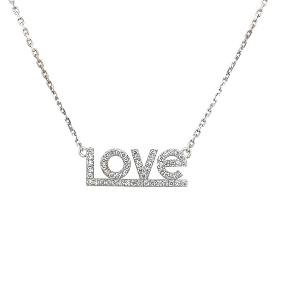 Diamond 'Love' Pendant Necklace