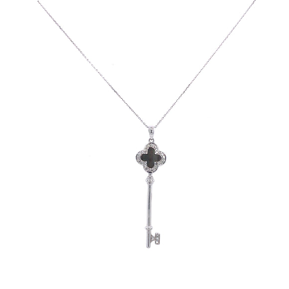 Mother Of Pearl & Diamond Key Pendant Necklace