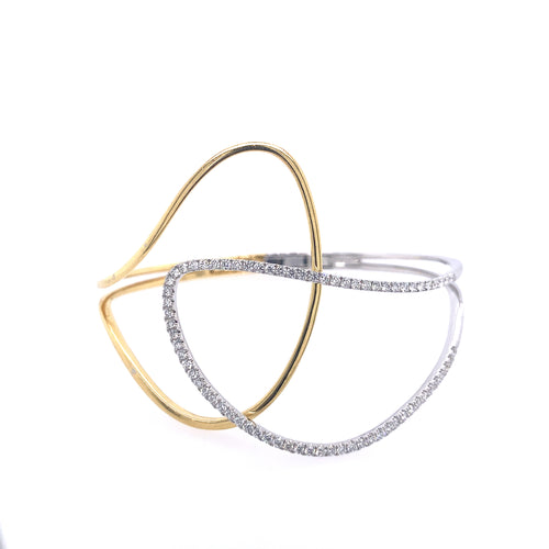 Two-Tone Diamond Accented Cuff Bracelet