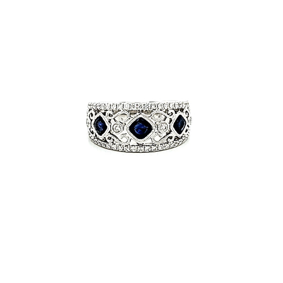Cushion Cut Sapphire & Diamond Filigree Band