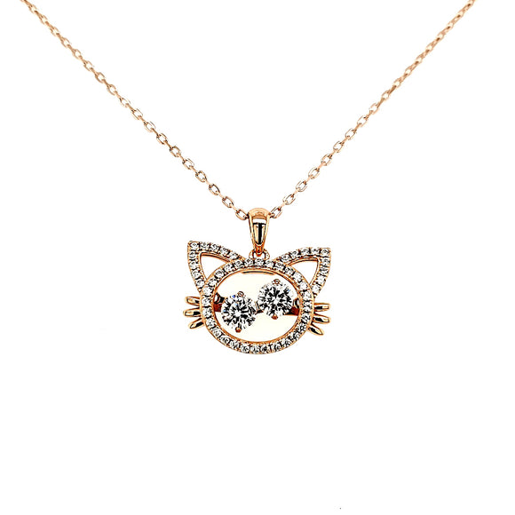 Moving Eyes Cubic Zirconia Cat Necklace