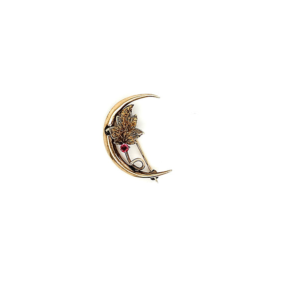 Crescent Leaf Ruby Accented Brooch